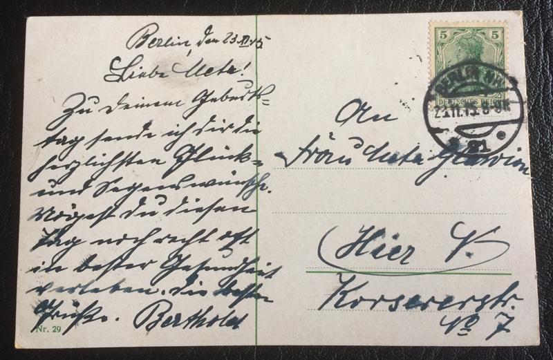 Project Postcard November 1915 Berlin back