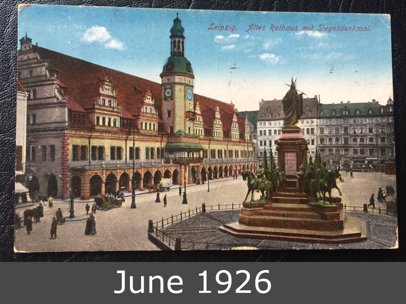 Project Postcard June 1926 Leipzig townhall front