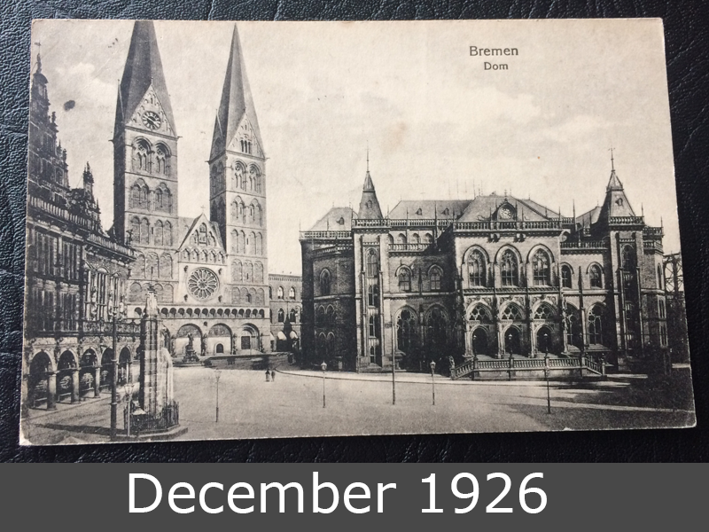 Project Postcard December 1926 Bremen Cathedral front