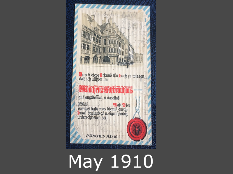 Project Postcard May 1910 Münchener Hofbräuhaus front