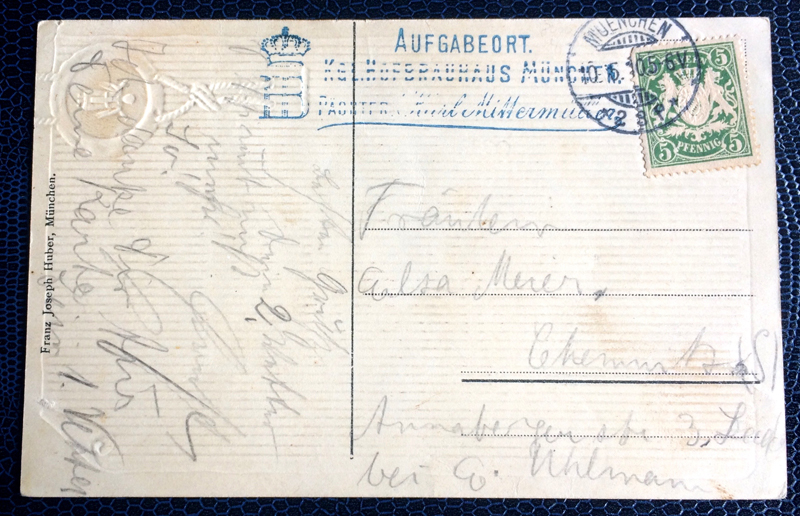 Project Postcard May 1910 Münchener Hofbräuhaus back