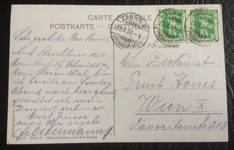 Project Postcard September 1908 Quaibridge Zurich back