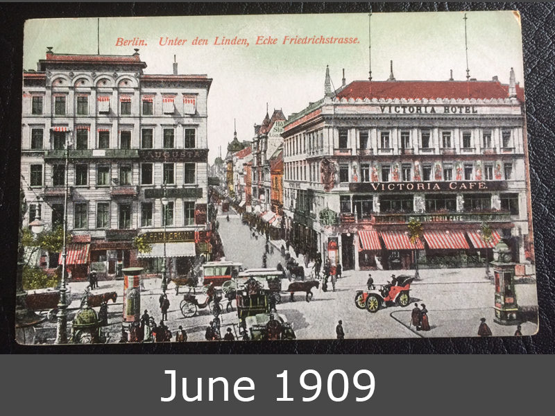 Project Postcard June 1909 Berlin Unter den Linden front