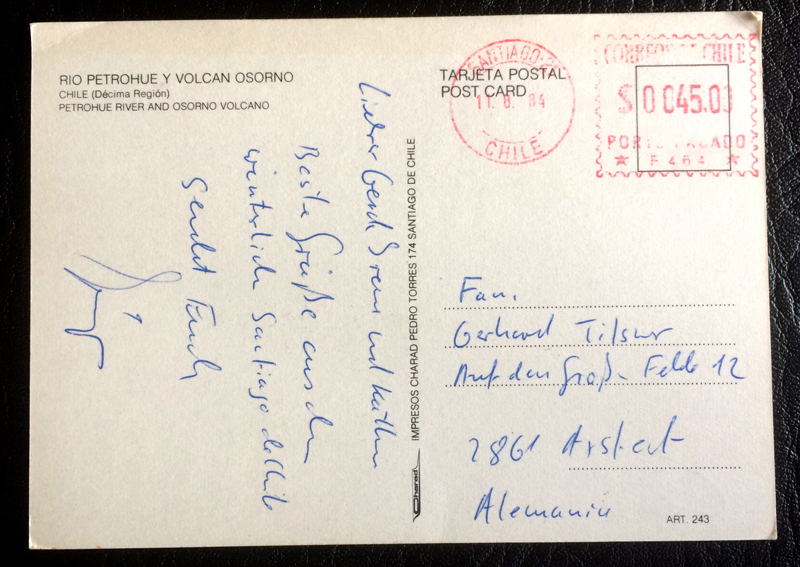 Project Postcard August 1984 Volcano Osorno Chile back