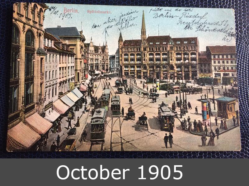 Project Postcard October 1905 Berlin Germany Spittelmarkt front