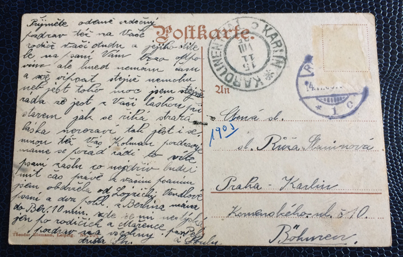 Project Postcard October 1905 Berlin Germany Spittelmarkt back
