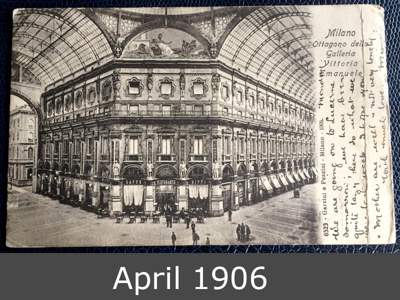 Project Postcard April 1906 Milan Galleria Vittorio Emanuele front