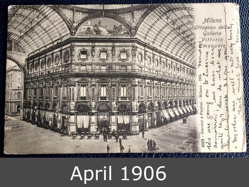 Project Postcard April 1906 Milan Galleria Vittorio Emanuele front