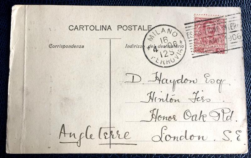 Project Postcard April 1906 Milan Galleria Vittorio Emanuele back