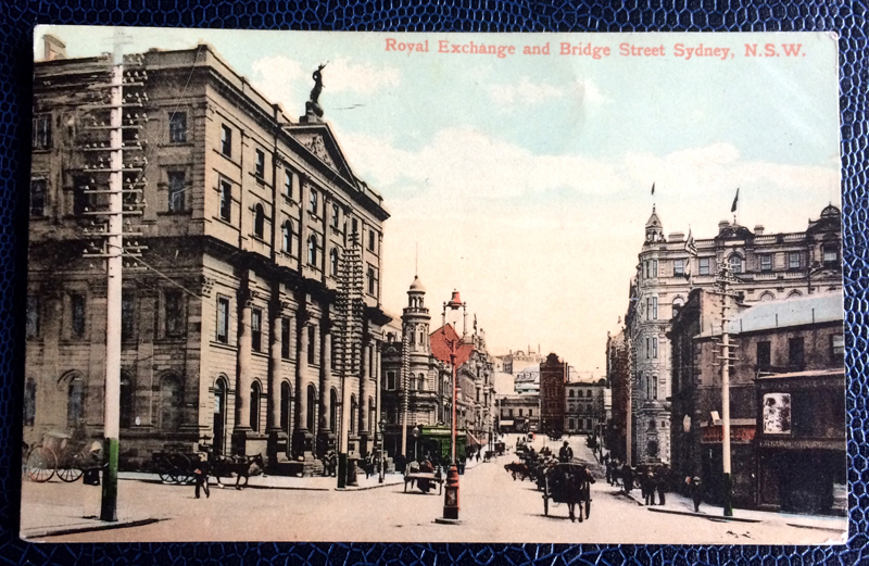 Project Postcard May 1907 Royal Exchange and Bridge Street Sydney