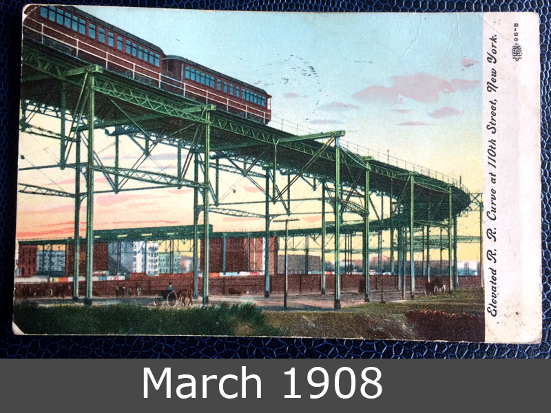 Project Postcard March 1908 New York elevated curve at 110th street front