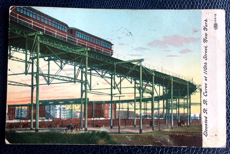 Project Postcard March 1908 New York elevated curve at 110th street