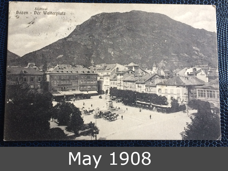 Project Postcard May 1908 Bozen South-Tirol front