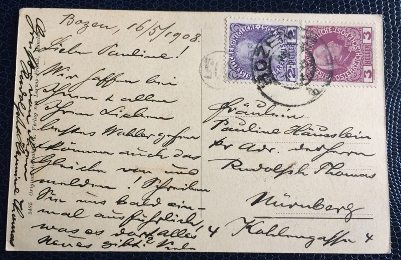Project Postcard May 1908 Bozen South-Tirol back