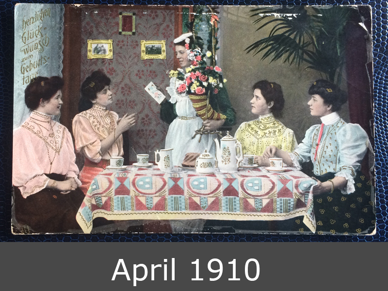 Project Postcard April 1910 Happy Birthday Party with german women front