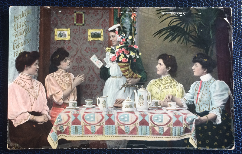 Project Postcard April 1910 Happy Birthday Party with german women