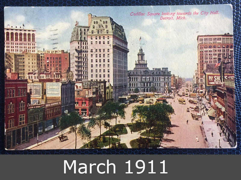 Project Postcard April 1911 The Cadillac Square in Detroit USA front