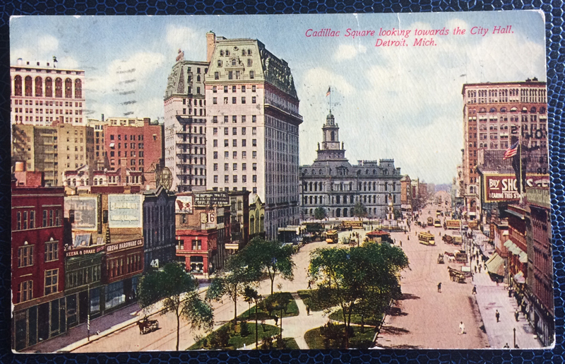 Project Postcard April 1911 The Cadillac Square in Detroit USA