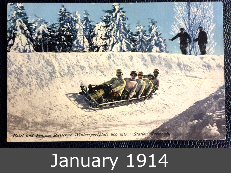 Project Postcard January 1914 Bobsleigh in Garmisch-Partenkirchen Bavaria front