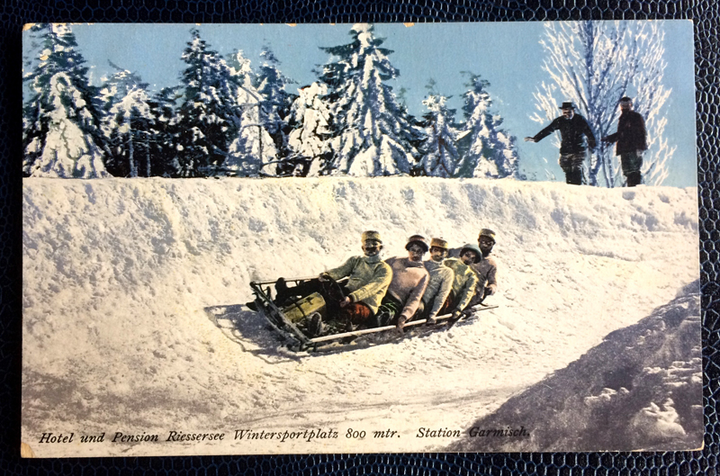 Project Postcard January 1914 Bobsleigh in Garmisch-Partenkirchen, Bavaria