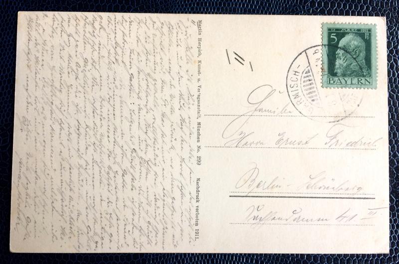 Project Postcard January 1914 Bobsleigh in Garmisch-Partenkirchen Bavaria back