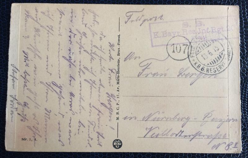 Project Postcard June 1915 Lille France Feldpost Nürnberg back