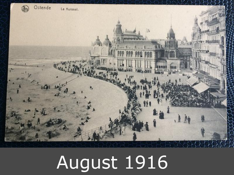 Project Postcard August 1916 Ostende Belgium Feldpost front