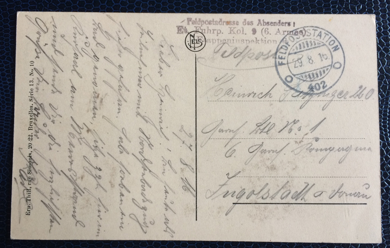 Project Postcard August 1916 Ostende Belgium Feldpost back