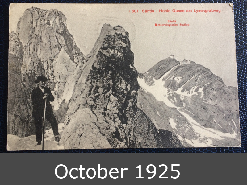 Project Postcard October 1925 Switzerland Mountains Säntis front