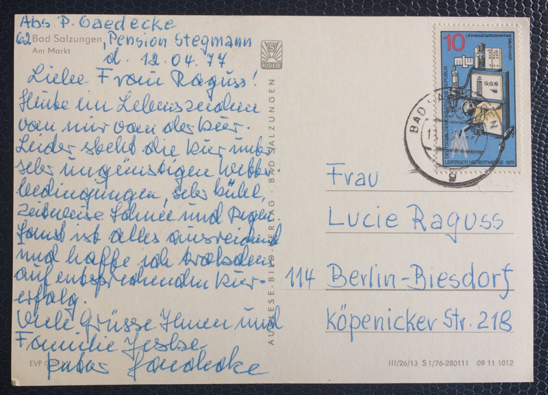 Project Postcard April 1977 Bad Salzungen GDR East Germany back