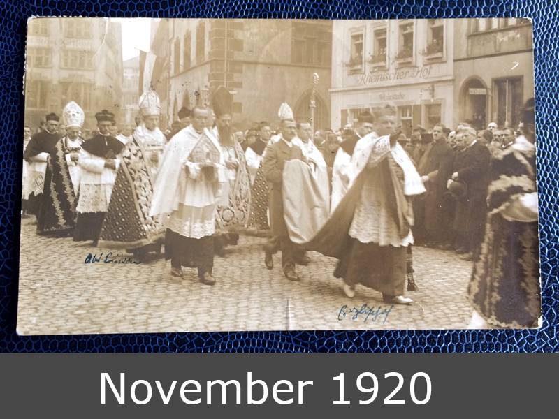 Project Postcard November 1920 Freiburg Procession Cardinal front