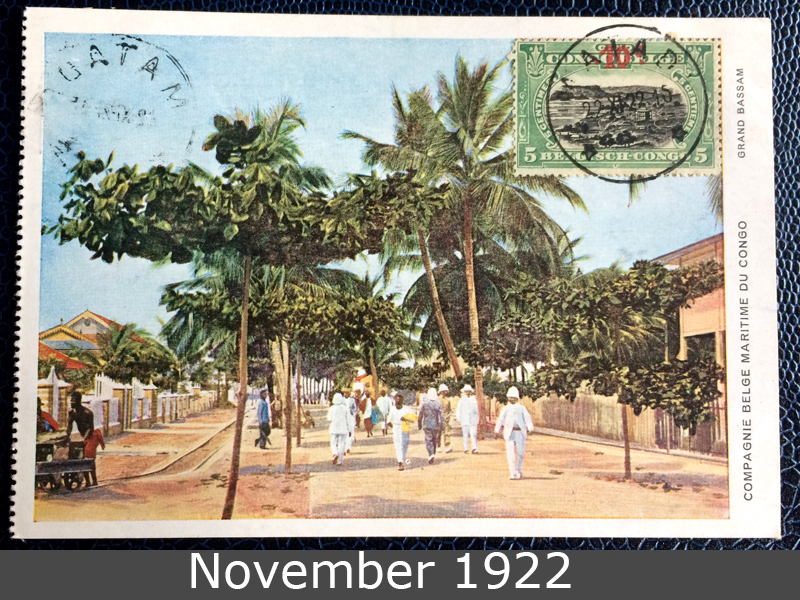 Project Postcard November 1922 Belgian Congo front