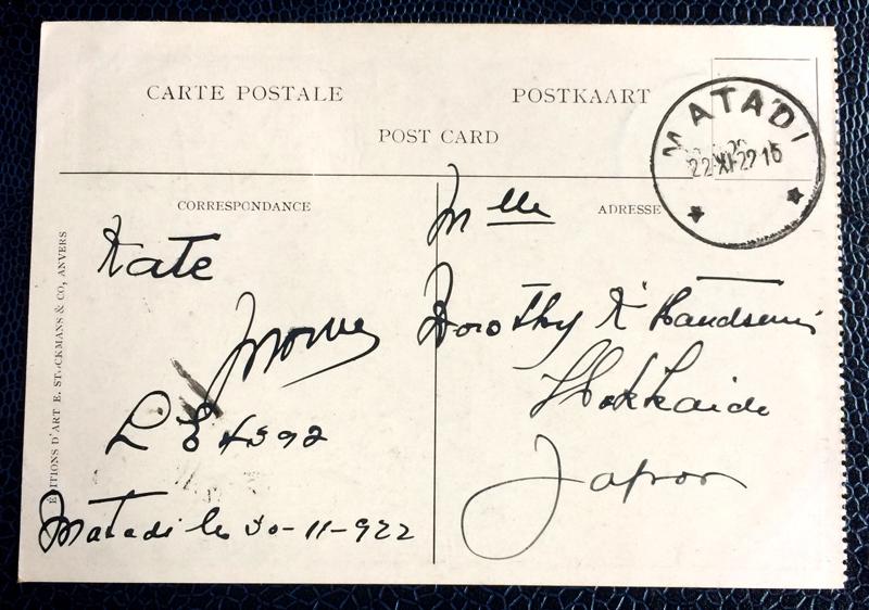 Project Postcard November 1922 Belgian Congo back