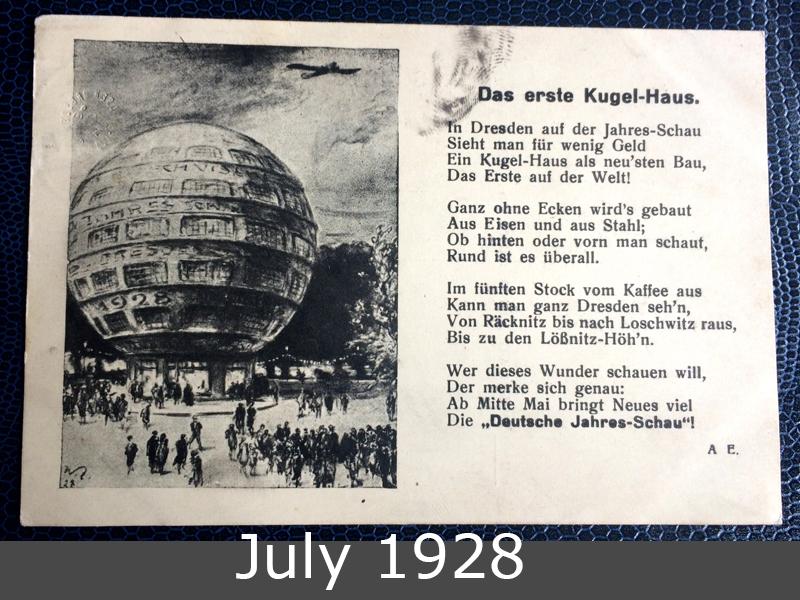 Project Postcard July 1928 Kugelhaus Dresden front