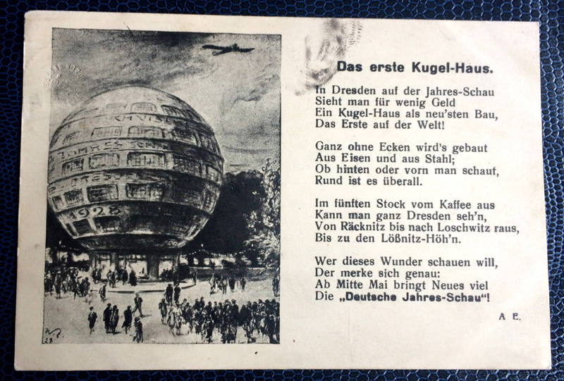 Project Postcard July 1928 Kugelhaus Dresden