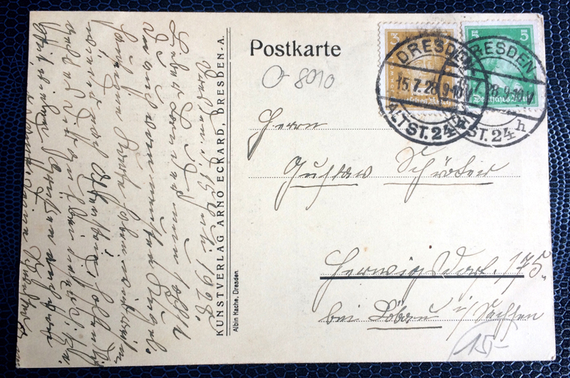 Project Postcard July 1928 Kugelhaus Dresden back