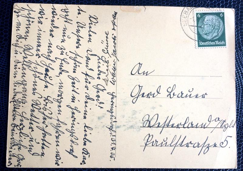 Project Postcard July 1937 Ostseebad Heringsdorf Kurhaus back