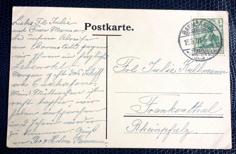 Project Postcard May 1908 Hamburg Port back