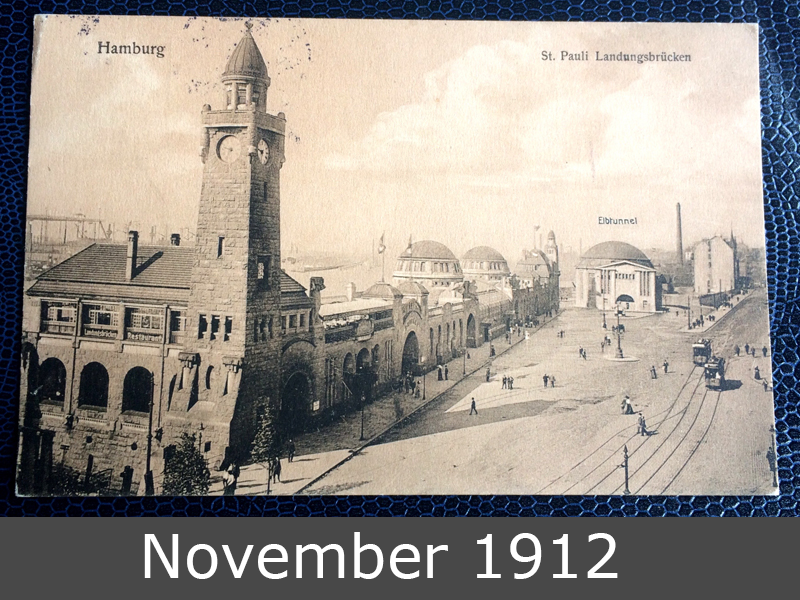 Project Postcard November 1912 St. Pauli Landungsbrücken in Hamburg front
