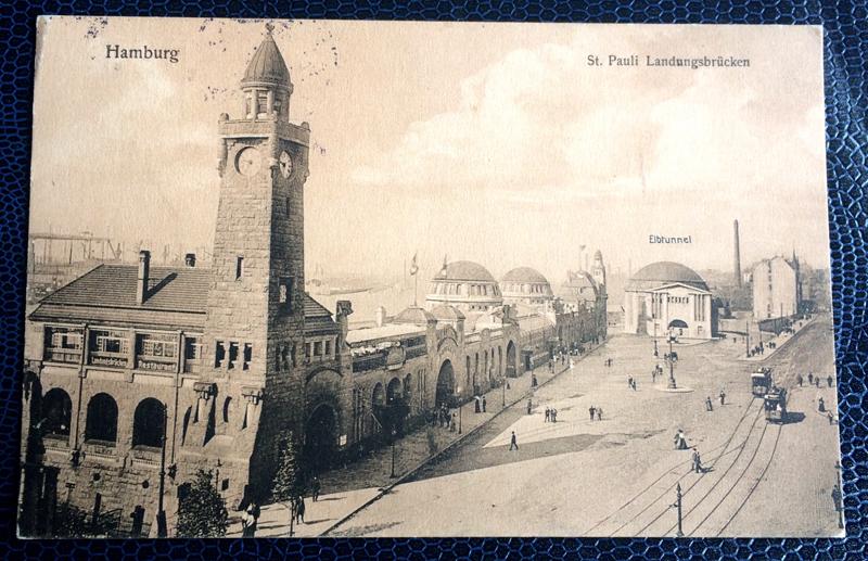 Project Postcard November 1912 St. Pauli Landungsbrücken in Hamburg