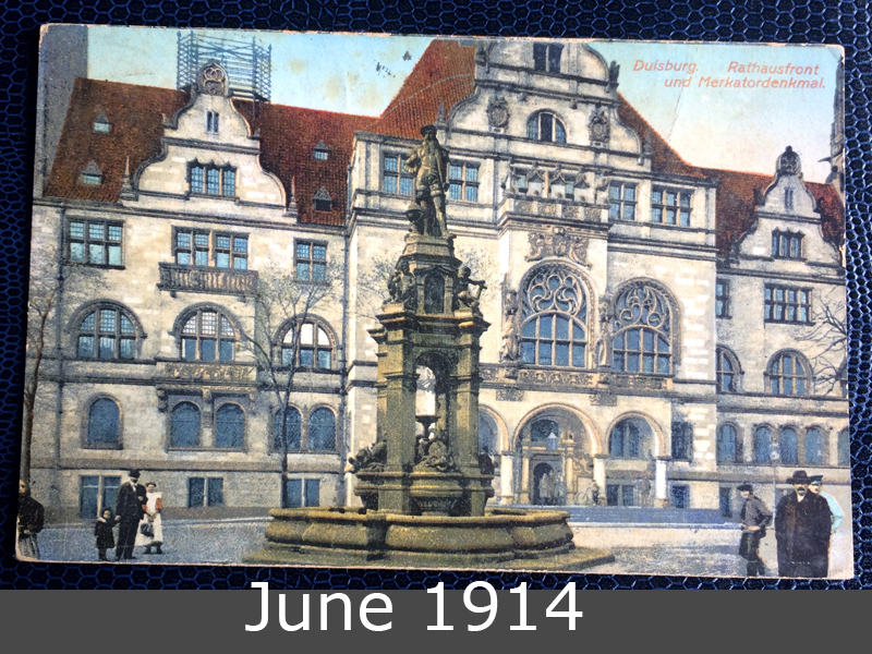 Project Postcard June 1914 Duisburg Germany town hall front