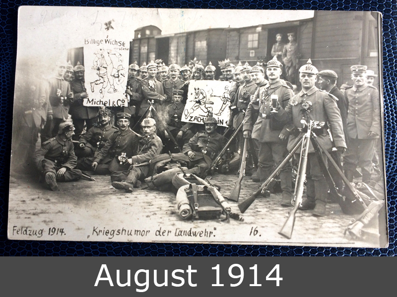 Project Postcard August 1914 Soldiers on the way to the front frontside