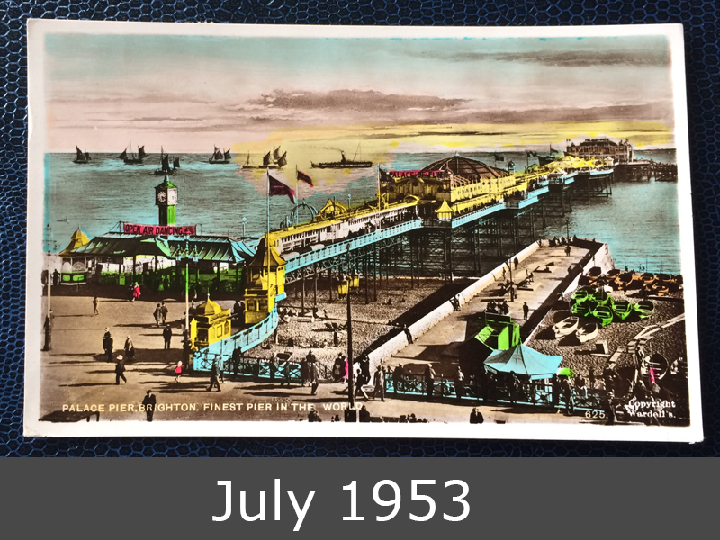 Project Postcard July 1953 Palace Pier Brighton front