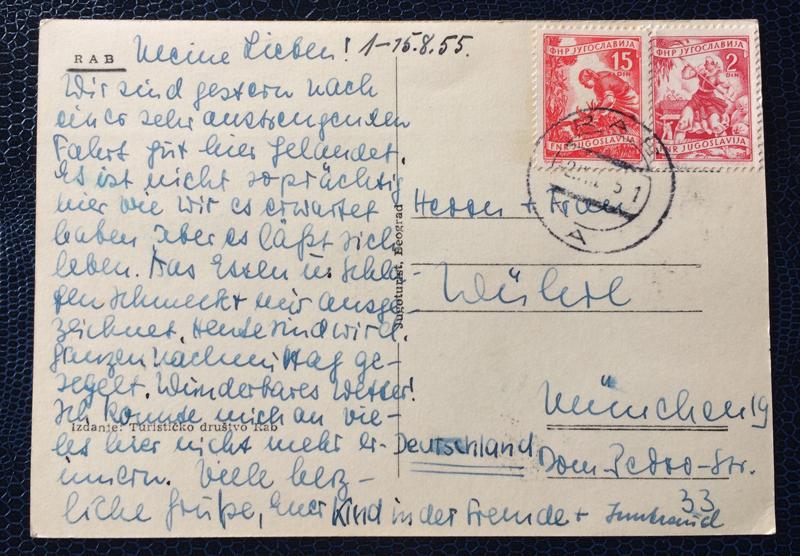 Project Postcard August 1955 Rab Jugoslavija back