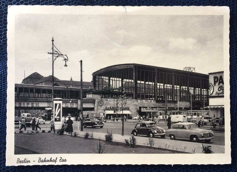 Project Postcard April 1956 West-Berlin trainstation Zoo