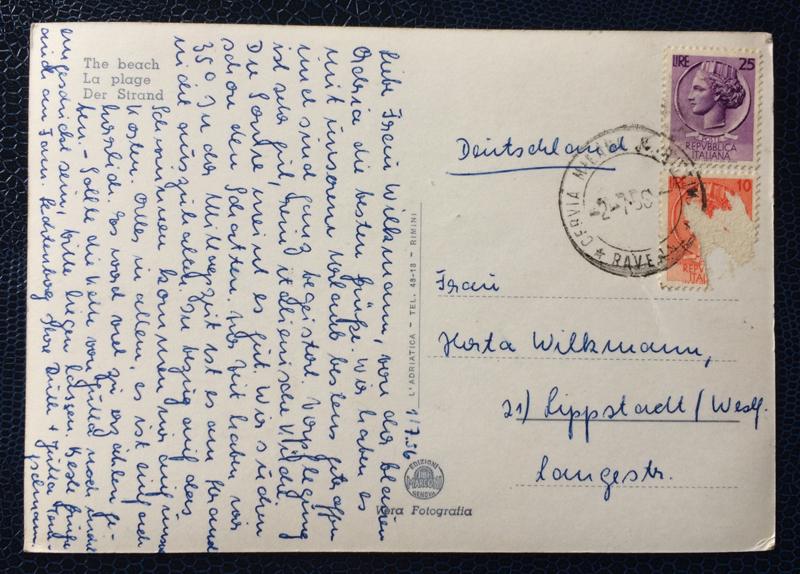 Project Postcard July 1956 Milano Marittima Cervia Italy back