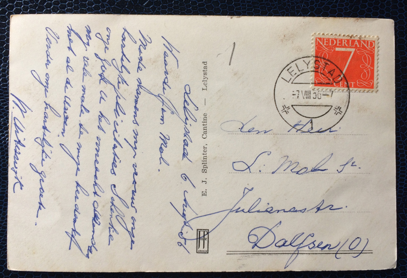 Project Postcard August 1956 Lolystad Haven back