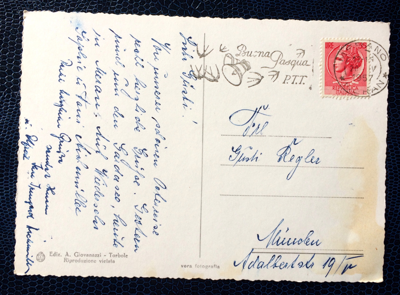 Project Postcard April 1957 Torbole Lake Garda back