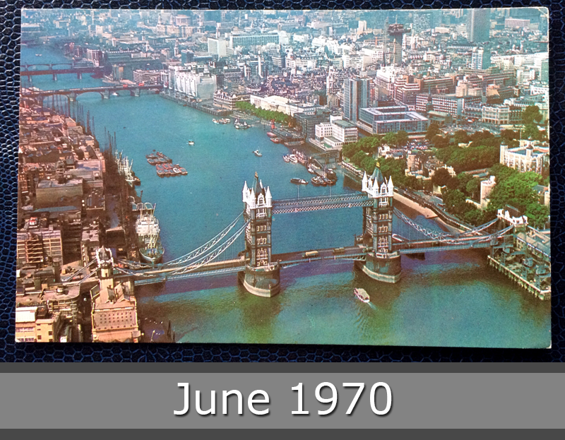 Project Postcard June 1970 Tower Bridge and City of London front