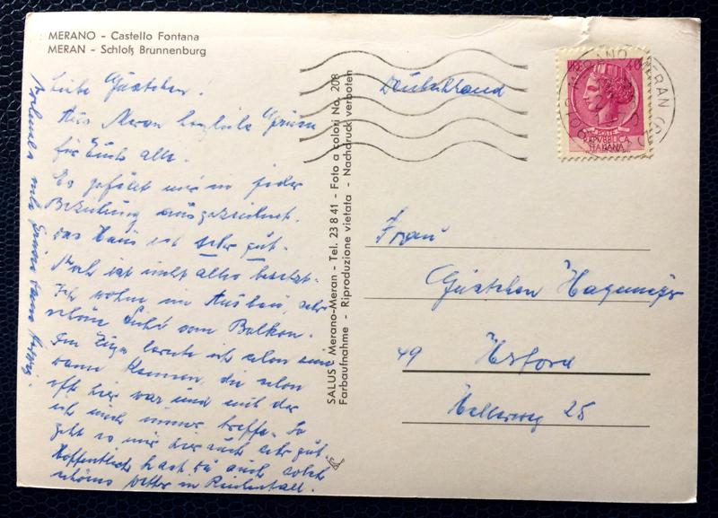 Project Postcard August 1970 Meran Castle Fontana Schloss Brunnenburg stamp